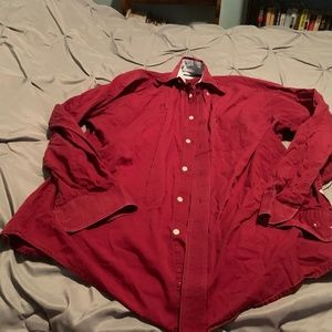 "TOMMY HILFIGER MEN""S RED LS BUTTON UP. SIZE MEDIUM"